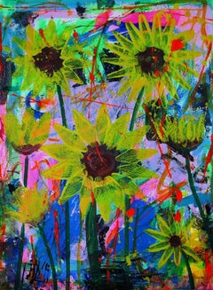 Sunflowers, Painting, Acrylic on Watercolor Paper