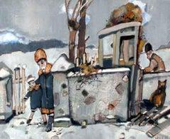 Winter - XX century, Oil figurative painting, Earth tones
