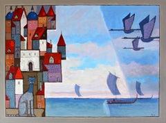 Untitled Birds XXI century Oil figurative painting Landscape Bright colors blue