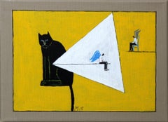 Cat and two angels - XXI century, Oil painting, Bright colours, Yellow