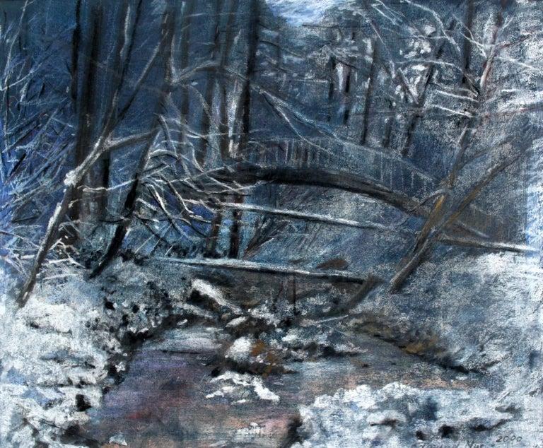 Edmund Muc Landscape Art - Winter landscape - XX century, Pastel figurative, Blue tones