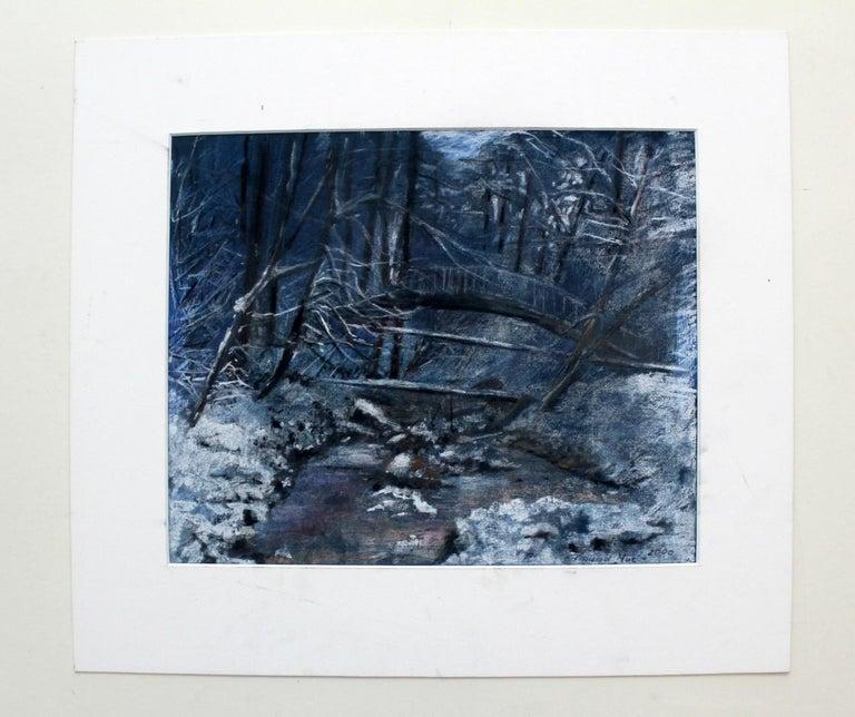 Winter landscape - XX century, Pastel figurative, Blue tones - Art by Edmund Muc