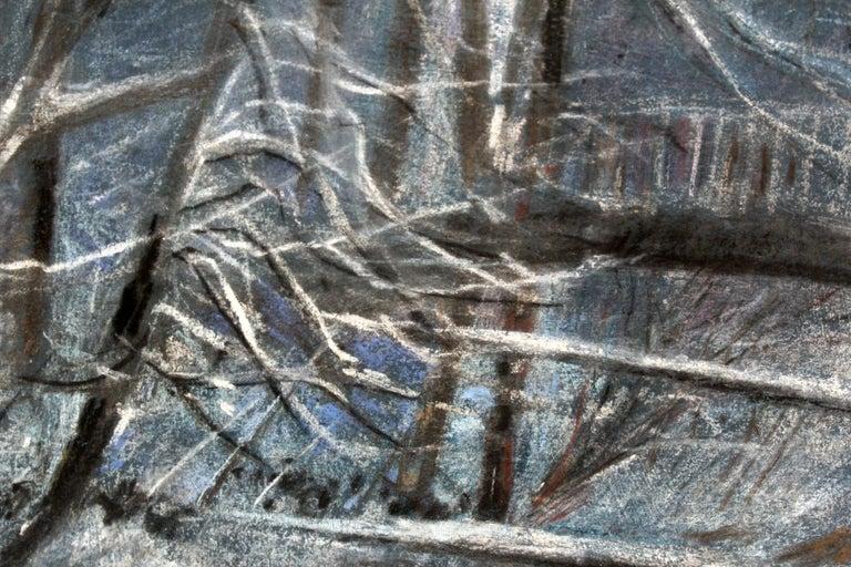 Winter landscape - XX century, Pastel figurative, Blue tones - Other Art Style Art by Edmund Muc