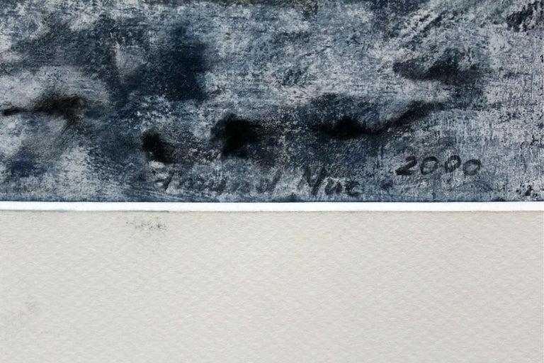 Winter landscape - XX century, Pastel figurative, Blue tones - Gray Landscape Art by Edmund Muc
