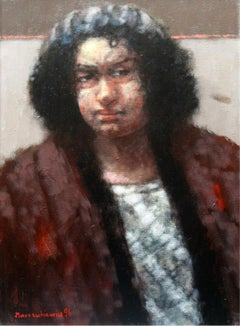 Portrait - XX century, Oil figurative painting, Dark tones