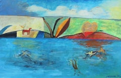 Swimming - XXI century, Oil figurative painting, Landscape