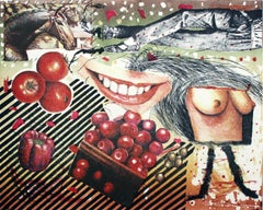 Cherry, horse and a girl - XX century, Mixed media, Collage