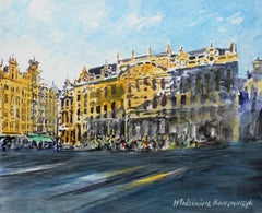 Brussels the Palace of Dukes of Brabant XXI century Watercolor painting