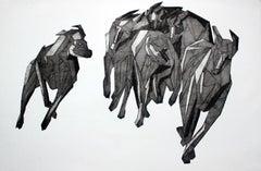 Hunt 5 - XXI century, Print, Young artist, Black and white, Geometrical