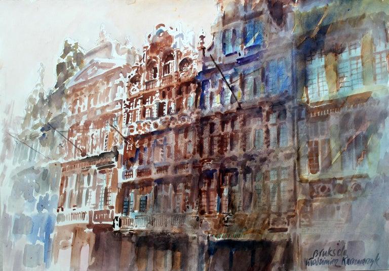 Włodzimierz Karczmarzyk Landscape Art - Brussels - Grand Place - XXI century, Watercolor painting, Landscape