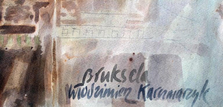 Brussels - Grand Place - XXI century, Watercolor painting, Landscape - Art by Włodzimierz Karczmarzyk