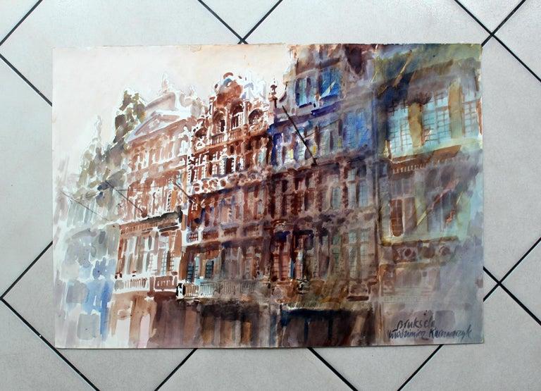 Brussels - Grand Place - XXI century, Watercolor painting, Landscape - Other Art Style Art by Włodzimierz Karczmarzyk