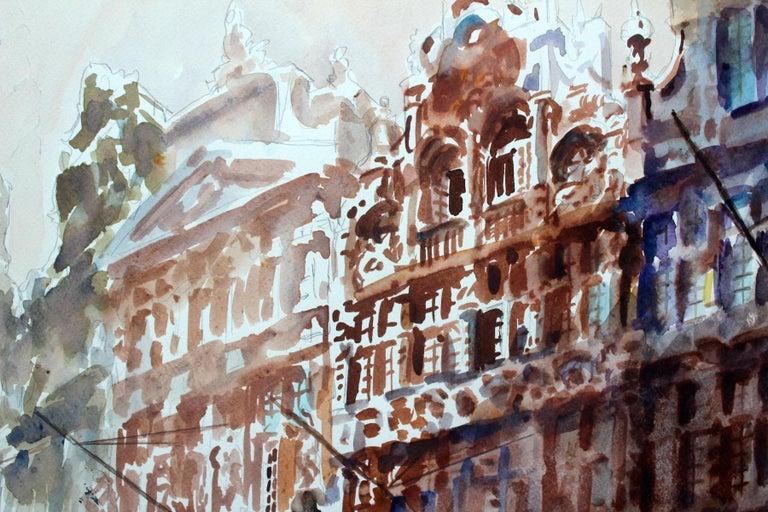 Brussels - Grand Place - XXI century, Watercolor painting, Landscape - Gray Landscape Art by Włodzimierz Karczmarzyk