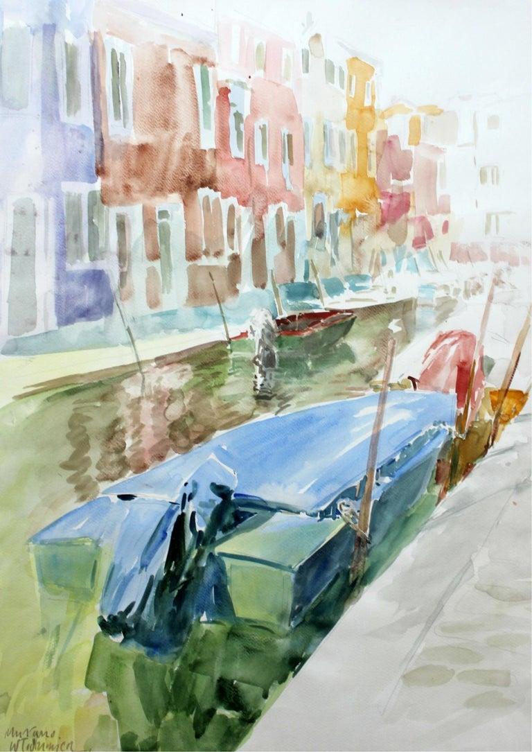 Włodzimierz Karczmarzyk Landscape Art - Murano canals - XXI century, Watercolor painting, Landscape