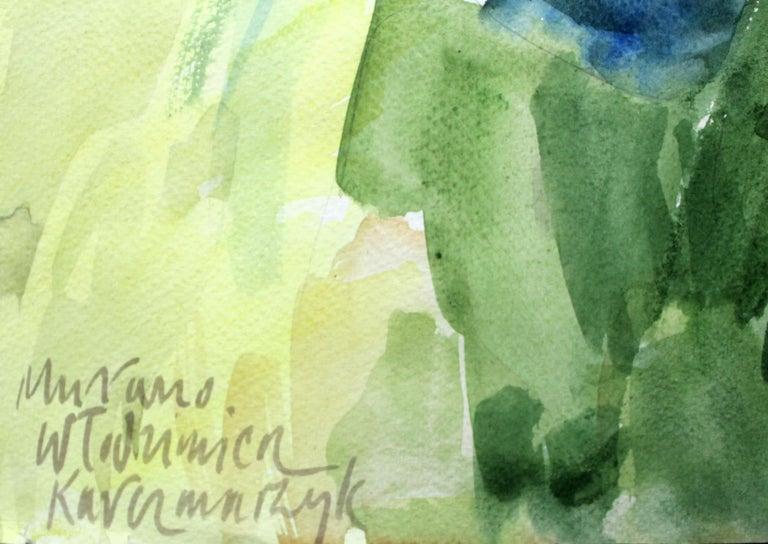 Murano canals - XXI century, Watercolor painting, Landscape - Gray Landscape Art by Włodzimierz Karczmarzyk