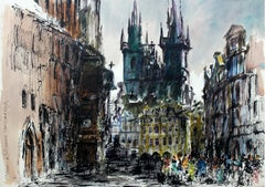 Prague - the Old Town Square - XXI century, Watercolor painting, Landscape