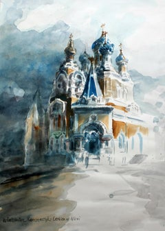 Orthodox Church in Nice - XXI century, Watercolor painting, Landscape