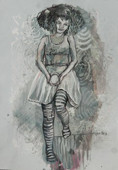 Stripes - XXI century, Women, Figurative drawing, Grey colours