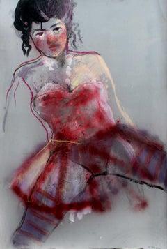 Girl V - XXI century, Women, Figurative drawing, Bright and vivid colours