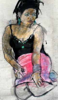 Girl in a pink skirt XXI century Women Figurative drawing Bright & vivid colors