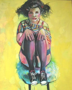 Yellow - XXI century, Women, Figurative painting, Bright and vivid colours