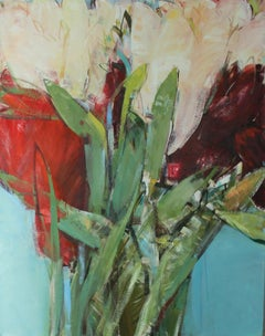 Triptych I - XXI century, Oil painting, Abstract-figurative, Flowers