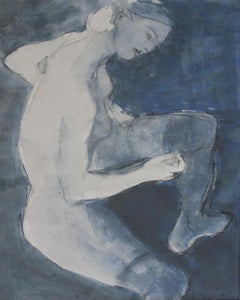 Nude - Contemporary art, Gouache, tempera nad mixed media, blue