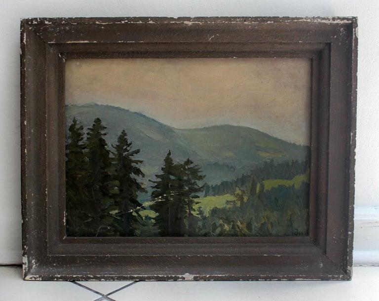 Mountain landscape - XX century, Oil painting, Landscape - Gray Landscape Painting by Juliusz Mieszkowski
