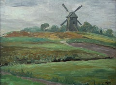 Landscape with a mill - XX century, Oil painting, Landscape