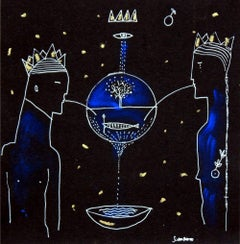 King and Queen - double-sided - XXI century, Figurative print, Etching