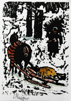 Winter - XX century, Woodcut print, Black and white, Linocut, Figurative