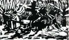 Sled - XX century, Woodcut print, Black and white, Woodcut