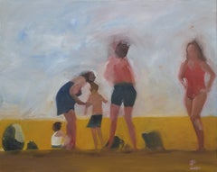 5 figures at the beach, Painting, Oil on Canvas