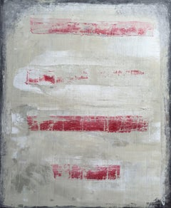 1113 abstract antique red drips, Painting, Acrylic on Canvas