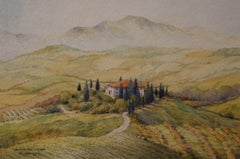 Tuscany.Orcia Valley, Painting, Watercolor on Watercolor Paper