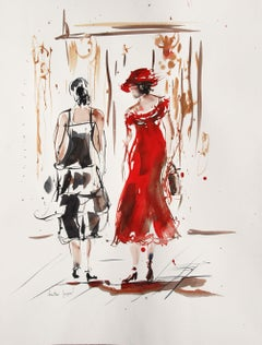 Original watercolor of two women in dress, Painting, Watercolor on Paper