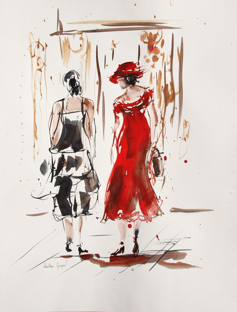 Original watercolor of two women in dress, Painting, Watercolor on Paper - Art by Christine Jacquel