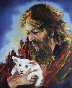 Jesus and friend, Painting, Oil on Canvas