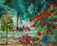 Oil on canvas of walkers in a public garden, Painting, Oil on Canvas