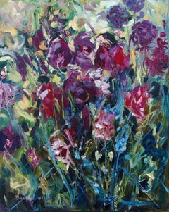 Original oil painting of purple flowers, Painting, Oil on Canvas