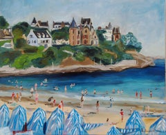 Original oil painting of Dinard beach in France., Painting, Oil on Canvas