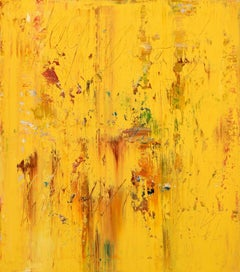 Yellow abstract painting CU054, Painting, Acrylic on Canvas