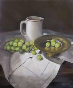 Green Grapes on Cloth, Painting, Oil on Canvas
