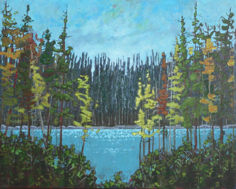 This painting is number three in my brand new Lake Series of work inspired by the Canadian north.  24x30 inches x1.5 inches, signed front and back, wired ready to hang, sides painted black, protected with a clear coat of gloss varnish. Shipping to