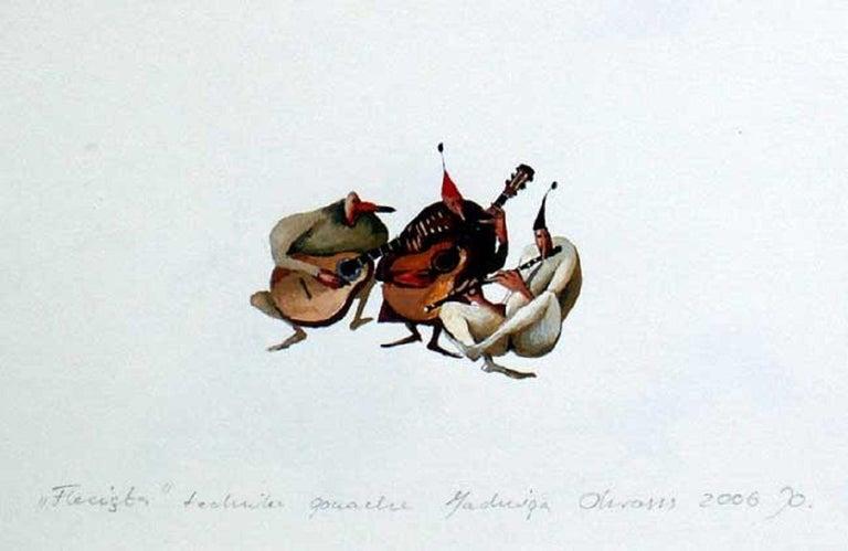 Jadwiga Okrassa Figurative Art - Flutist - XXI century, Gouache figurative drawing, Colourful