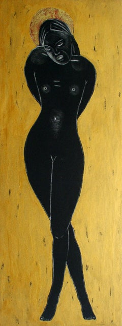 Black Angel - XXI century, Figurative nude print, Mixed media