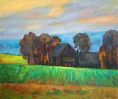 Green field - XXI century, Oil landscape painting, Colourful