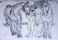 Lovers - XXI century, Black and white print, Unique, Figurative, Horses