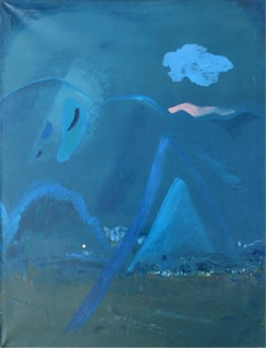 One drop of a dream - XX century, Oil abstraction painting, Blue