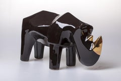 Black rhino - XXI century, Figurative animal sculpture, Ceramic